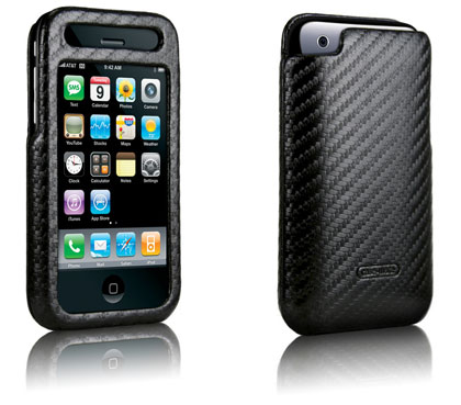 Case Mate Apple iPhone 3G carbon fiber leather black case