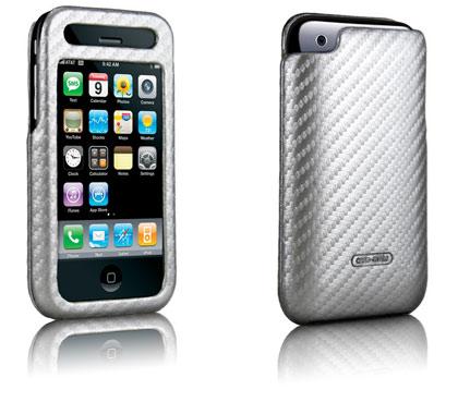 Case Mate Apple iPhone 3G carbon fiber leather silver case