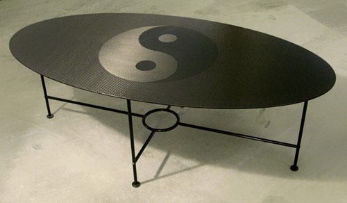 carbon fiber ying yang coffee table | carbon fiber gear