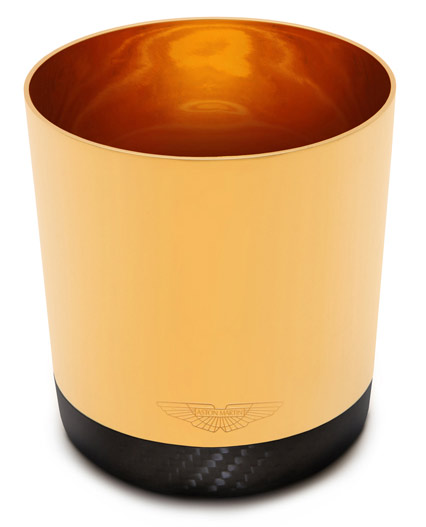 Aston Martin Grant Macdonald gold and carbon fiber champagne tumbler